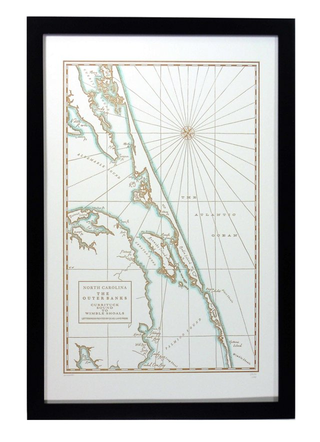 Outer Banks, North Carolina Map Print
