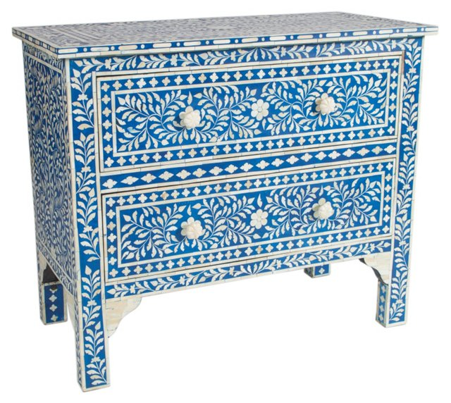 Jules 2-Drawer Dresser, Sky Blue/Ivory