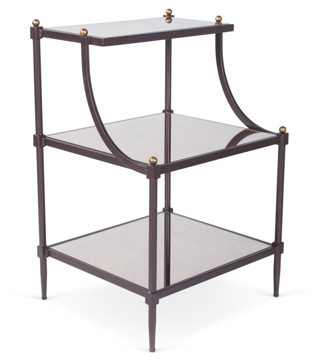 Sage Tiered Mirror Side Table, Bronze