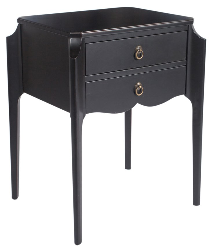Ellery 2-Drawer Nightstand, Black