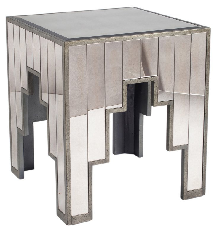 Molly Mirrored Side Table, Silver
