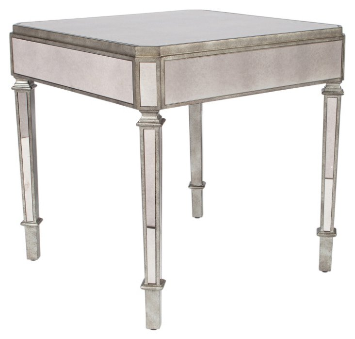 Monica Mirrored Accent Table, Pewter