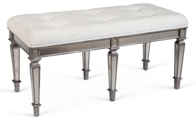 Maynard Mirrored Bench, Ivory