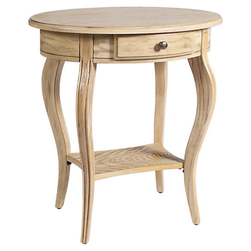 Samantha Round Nightstand, Natural