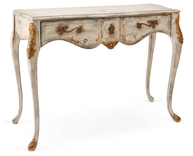 Halliday Gilded Console Table, Cream