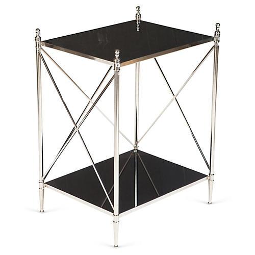 Powell Side Table, Nickel/Black Glass