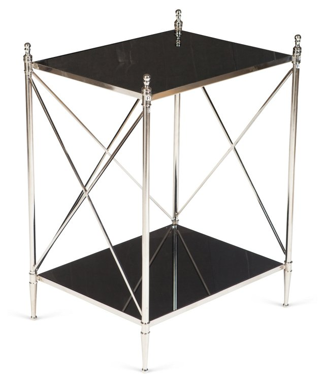 Powell Side Table, Nickel/Black Glass