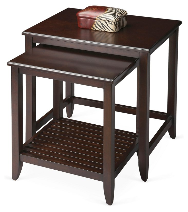 Mahogany Grifin Nesting Tables, Set of 2