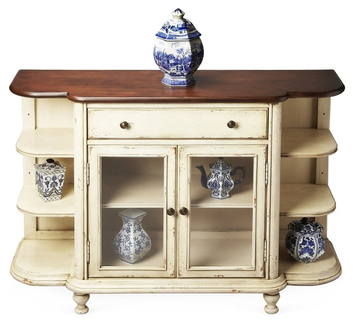 Paden Display Console, Distressed Cream