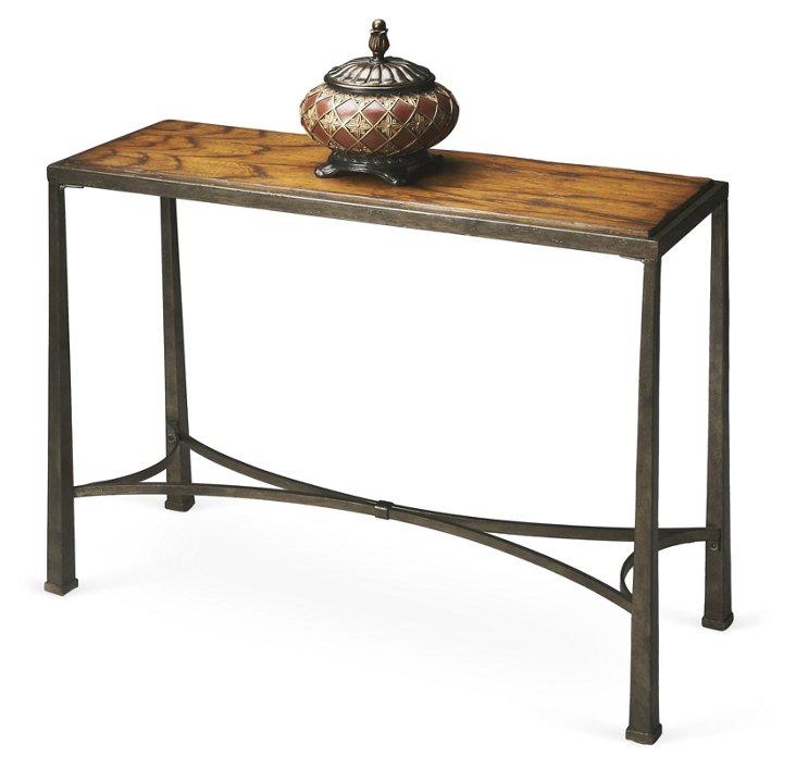Bellerose Accent Table, Honey/Pewter
