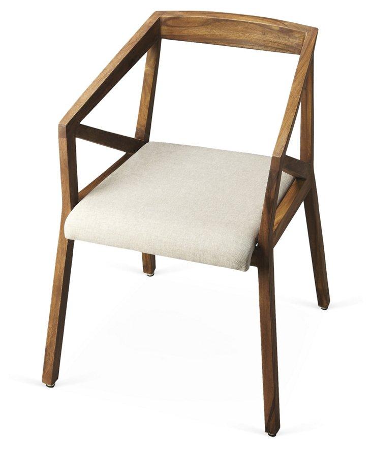 *Arthur Armchair, Walnut/Cream