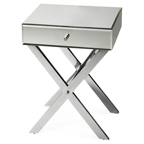 Mary Mirrored Nightstand, Silver