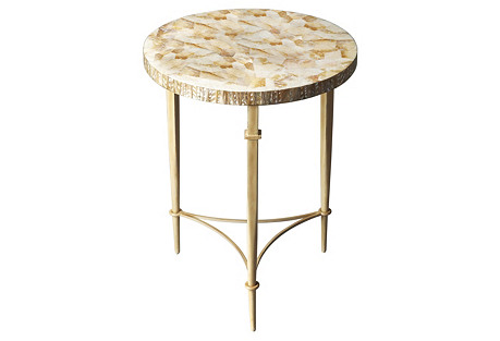 Hope Accent Table, Gold/Cream