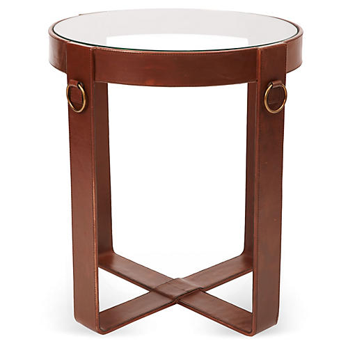 Chloe Leather-Wrapped Side Table, Saddle