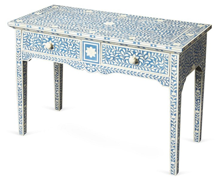 Elliot Console Table, Blue/Ivory