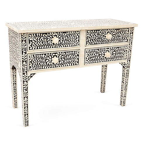 Brianna Bone-Inlay Console, Black/Ivory