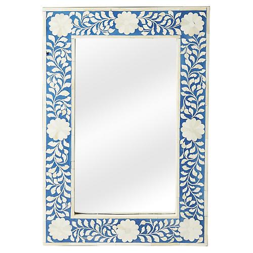 """Elisabeth 16""""x24"""" Wall Mirror, Blue/Ivory"""