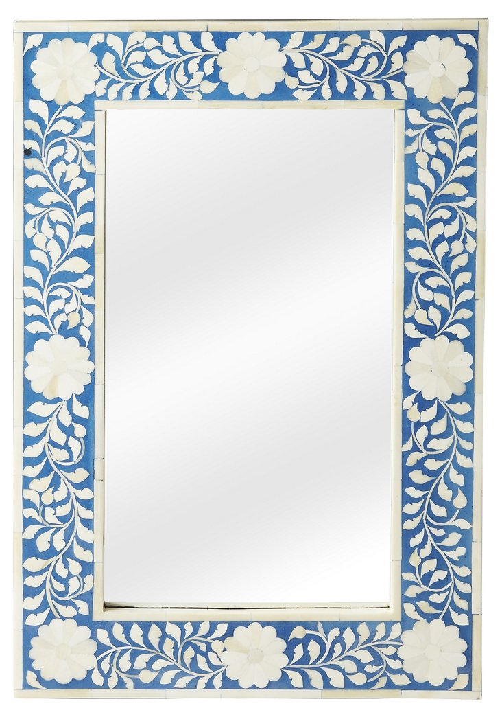 Elisabeth Wall Mirror, Blue/Ivory