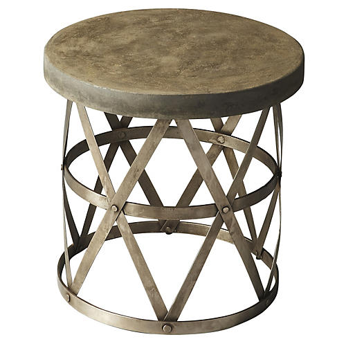 Rosen Side Table, Antiqued Silver