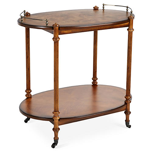 Rachel Bar Cart, Pecan/Brass