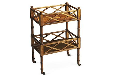 Taylor Rolling Bar Cart, Wood/Brass