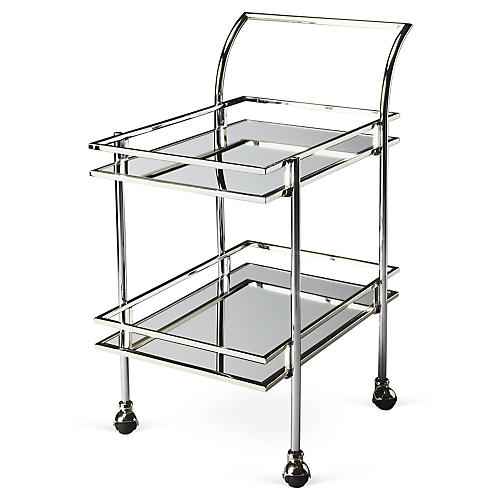 Lykes Mirrored Bar Cart, Silver