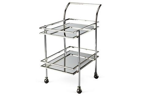 Lykes Mirrored Bar Cart, Silver