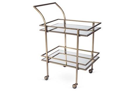 Lykes Mirrored Bar Cart, Brass