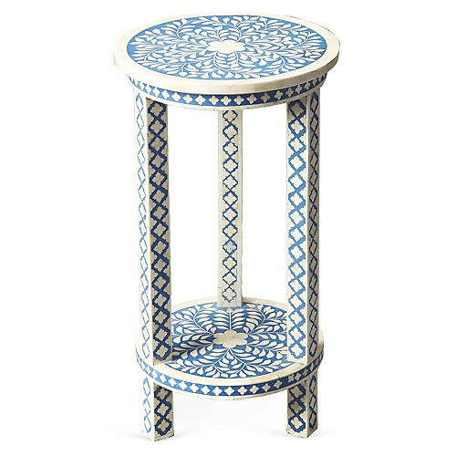Kayla Bone-Inlay Side Table, Blue