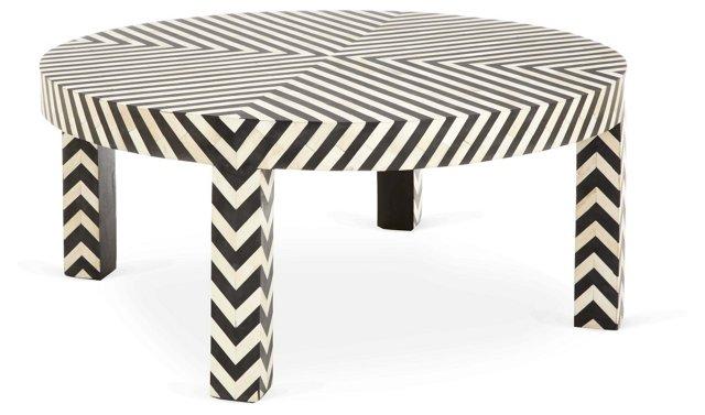 Sarah Round Bone-Inlay Coffee Table
