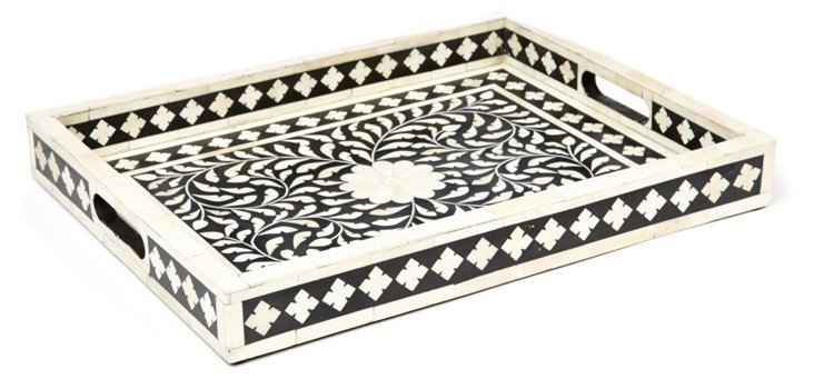 "18"" Botanical Tray, Black/White"