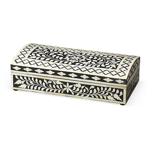 "16"" Bone-Inlay Box, Black/White"