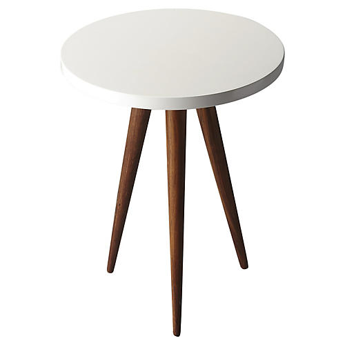 Jessa Side Table, White/Natural