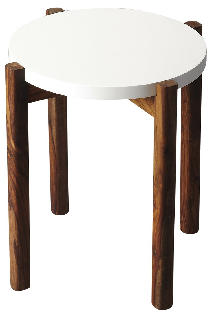 Kaitlin Side Table, White/Natural