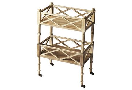 Taylor Rolling Bar Cart, Natural Wood