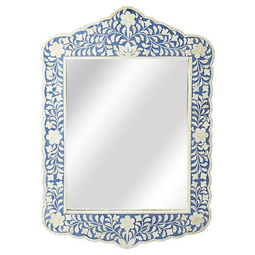 Bone Inlay Mirror, Blue
