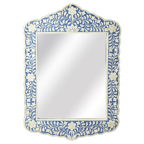 Bone Inlay Mirror, Blue