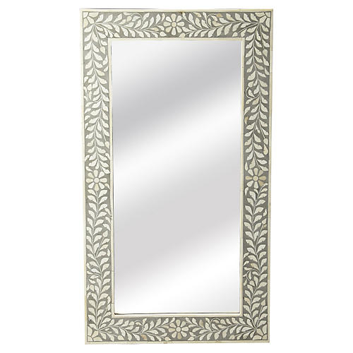 "Bone 20""x36"" Inlay Wall Mirror, Gray"