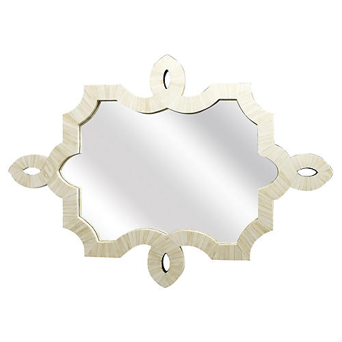 Modern Bone Mirror, White
