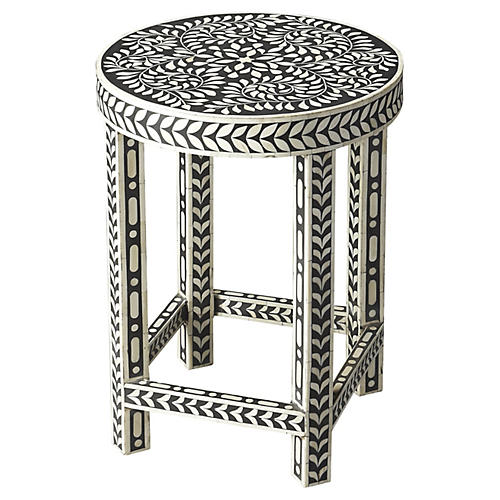 Julie Bone-Inlay Side Table, Black/Bone