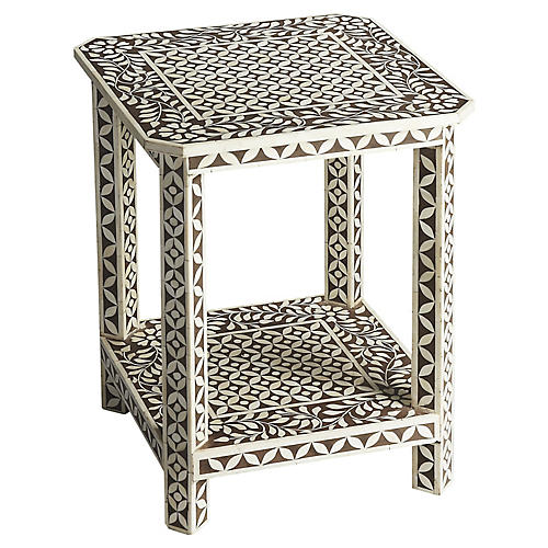 Kensie Bone-Inlay Side Table, Black