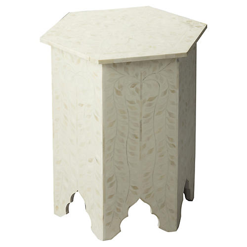 Kayley Bone-Inlay Side Table, Ivory