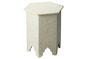 Kayley Bone-Inlay Side Table, Ivory
