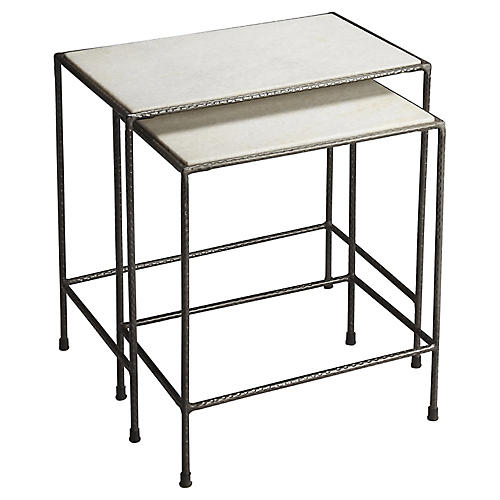 Asst. of 2 Rachel Nesting Tables, Pewter
