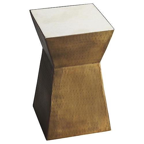 Eva Modern Side Table, Brass/Marble