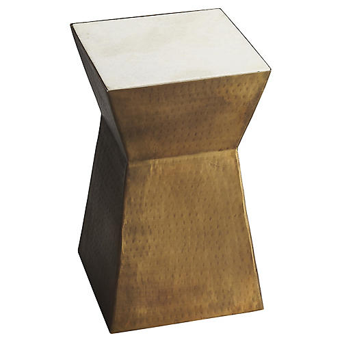 Eva Modern Side Table, Brass/Marble