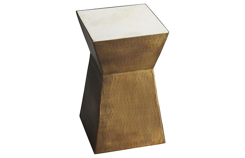 Eva Side Table, Brass/Marble