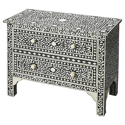 Jessica Bone-Inlay Dresser, Black
