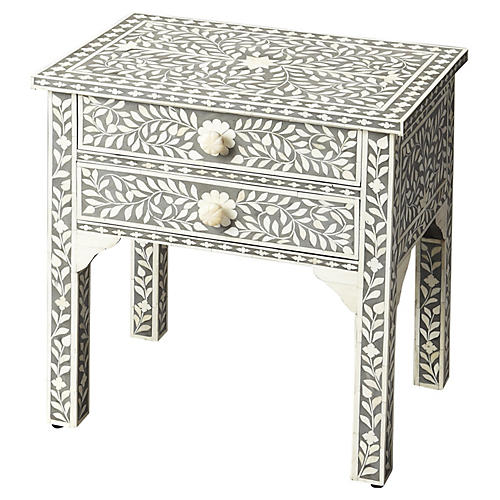 Patrice Bone-Inlay Nightstand, Gray