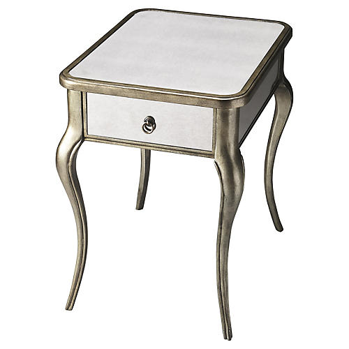 Jahi Mirrored Cabriole Nighstand, Silver